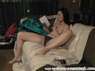 behind the scnees of a porn casting video hot girl peeing and being dirty