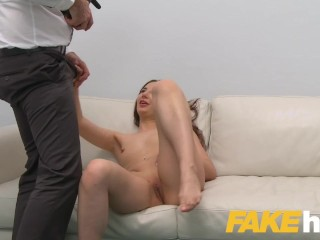 Fake Agent Hot masturbating redhead model craves agents thick cock