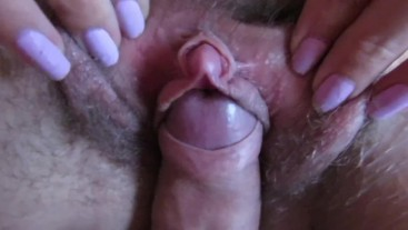 close up hard swollen clit hairy pussy teasing with cockhead in close up