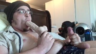 Big Thick Cumload Self Facial! Tasting Cum & Sucking Dildo! Cum on Glasses