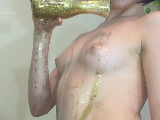 oiled golden glitter tits hd oil caress jiggling small boobs puffy nipples