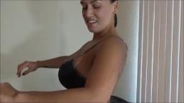 Megan Jones flexes her pecs