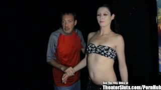 Preview 2 of Petite Pale Party Chick GangFucked in Porno Theater