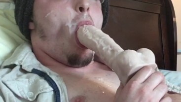 Big Thick Cumload Self Facial! Sucking Dildo & Licking Cum! Cumshot Rating