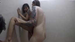 teen latin at shower cum in face