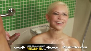 Dido anal for drinking showers piss golden kneels angel fucking after tits blonde