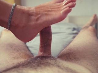 Oily Footjob leads to huge explosion of Cum