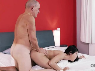 OLD4K. Boyfriend's old cock is what brunette needed for pleasure