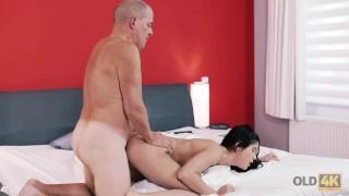 OLD4K. Boyfriend's old cock is what brunette needed for pleasure