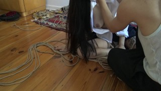 Kinbaku bondage - Me suffering in rope and shared an intense moment Young homemade