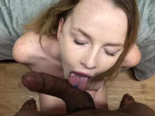 SEXY BLONDE TEENAGER TRIES TO DEEP THROAT BBC AND GETS CREAMPIED