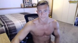 Handsome stud jerks off on cam