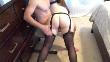 Milf caught masturbating spanked and fucked
