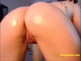 Naughty girl plays with her holes