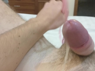 Handsfree prostate milking - oozing precum and a huge flow of cum
