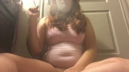 Chubby Babe Smoking White Filter 100 and Jiggling Big Belly Big Perky Tits