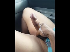 This Black TS Goddess makes Her bottom boi stroke Her in Her car