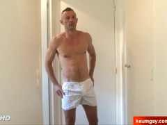 innocent handsome str8 dude serviced his cock by us.