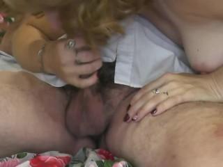 Blowjob. Milf blonde sucking cock dick penis close up. Blow job