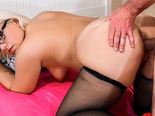 HITZEFREI Thick German blonde Mariella Sun fucks an older man