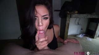 Slutty Brunette Gags Hard Deepthroating Cock!
