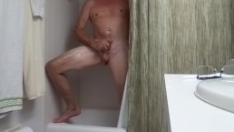Shower Time Stroking My Hard Cock