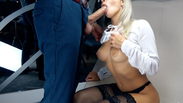 Dick kissing Blonde suck big cock and handjob for cum in mouth