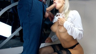 Screen Capture of Video Titled: Blonde Suck Big Cock and Handjob for Cum in Mouth