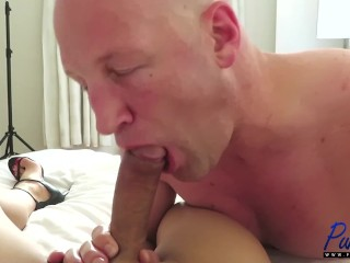 Christian sucks off a big dick asian TS amateur