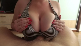 I love big tits fuck and cum on tits - POV Tongue cum