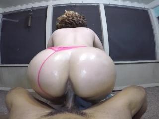 Late night suck & fuck w/ sexy bubble butt blonde on the back porch!