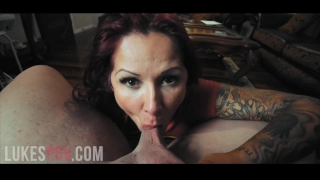 Milf tits her cum pov in of huge takes gives blowjob a mouth load massive cumshot in