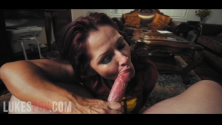 Tits in a load pov gives of blowjob massive her huge milf cum takes mouth in huge