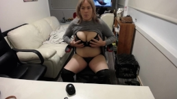 Sharon`s sneaky wank, showing off her G cup boobies