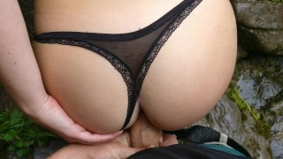 Young hikers having public sex in the mountains Brunette doggystyle