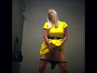 It could be this Dirty MILF in the bathroom stall next to you masturbating!