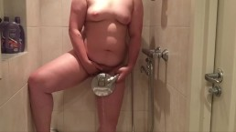chubby girl takes a hot shower while parents are nearby