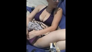 Public beach slut at the pussy hairy her wet super gets touching verified big