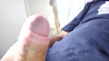 Vulgar cumshot of a porn addict
