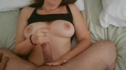 POV morning handjob: busty Lena gives him a big orgasm