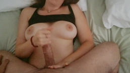 POV morning handjob: busty Lena gives him a big orgasm