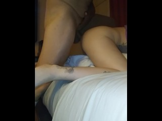 Hard cock fucking in a hotel room