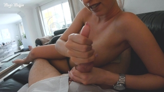 Handjob and pov nice big with tits amateur cumshot of point