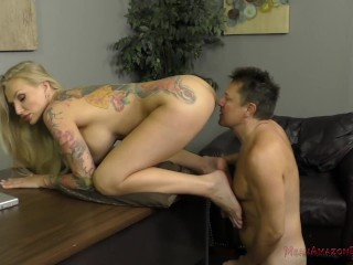Beautiful European Goddess Kayla Green Makes Her Slave Lick Her Feet & Ass
