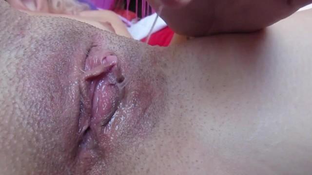 Blonde clitoris masturbation My dripping wet big clit pussy after huge orgasm