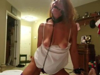 Mature Daizy Layne Ball Gagged Tied Hands Feet Pussy Chained Collar