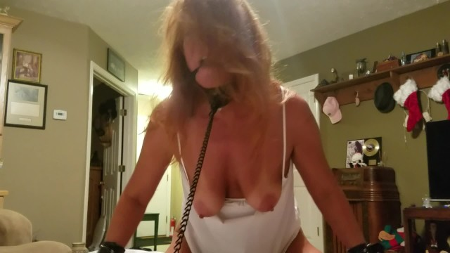 Breast collar neck strap Ball gagged,tied,hands feet,pussy chained, collar