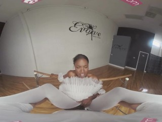 VRBangers.com-Sexy Ebony Ballerina gets her pussy stretched and fucked hard
