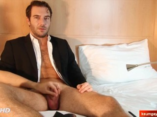 Picture of My sexy str8 banker serviced in a gay porn in spite of him