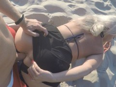Kate Truu with Big Butt fucks on the public beach at sunset